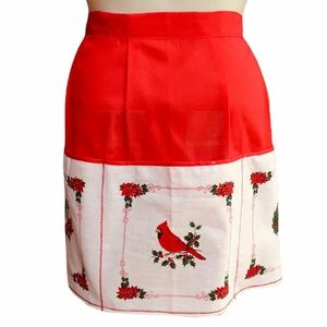 Handmade Cardinal Birds Wreath Pocket Half Apron